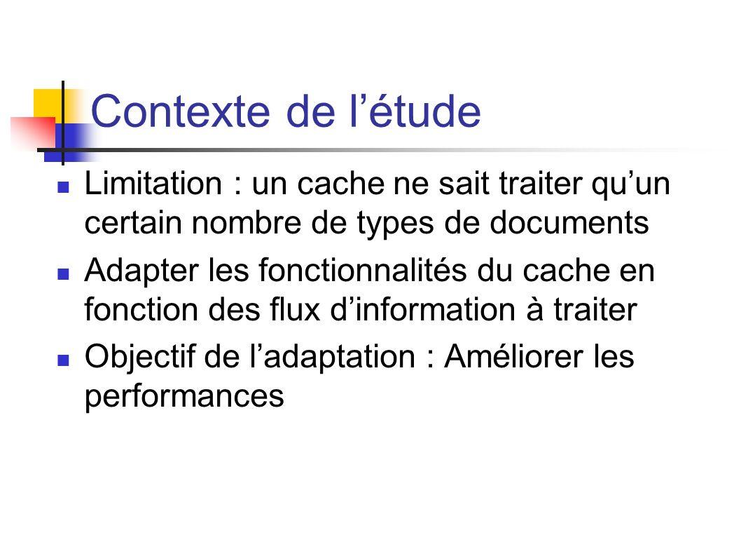 Contexte de l'étude Limitation : un cache ne sait traiter qu'un certain nombre de types de documents.