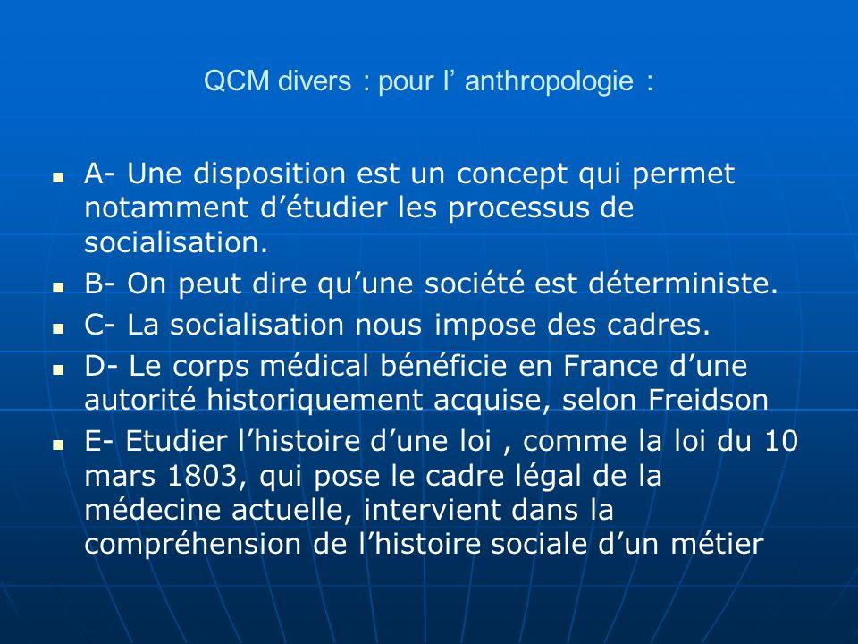 QCM divers : pour l' anthropologie :