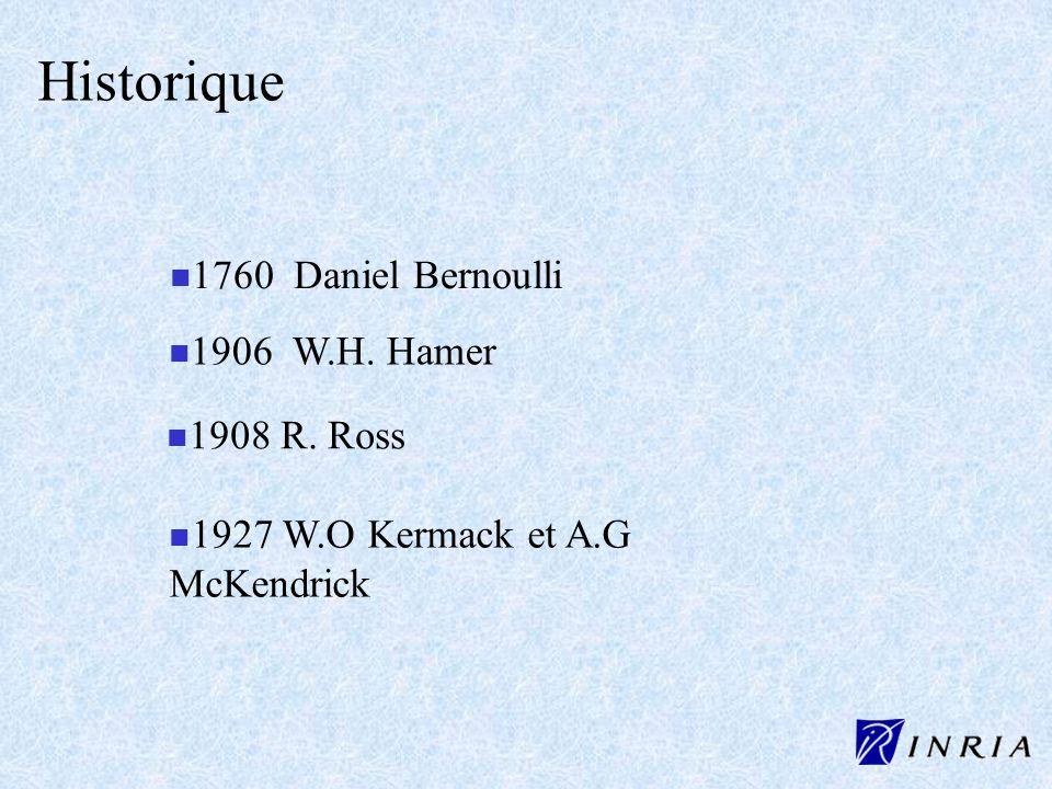 Historique 1760 Daniel Bernoulli 1906 W.H. Hamer 1908 R. Ross