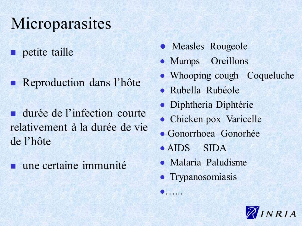 Microparasites Measles Rougeole petite taille Reproduction dans l'hôte