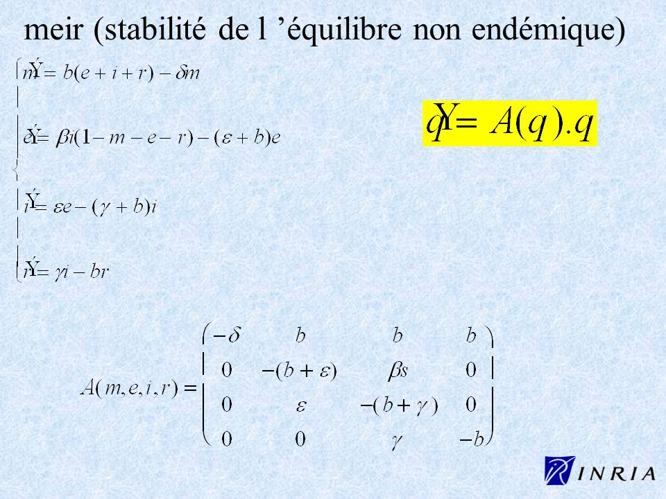 meir (stabilité de l 'équilibre non endémique)