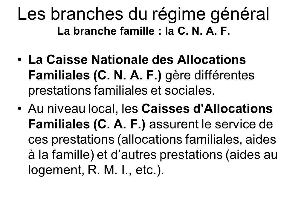 Les branches du régime général La branche famille : la C. N. A. F.
