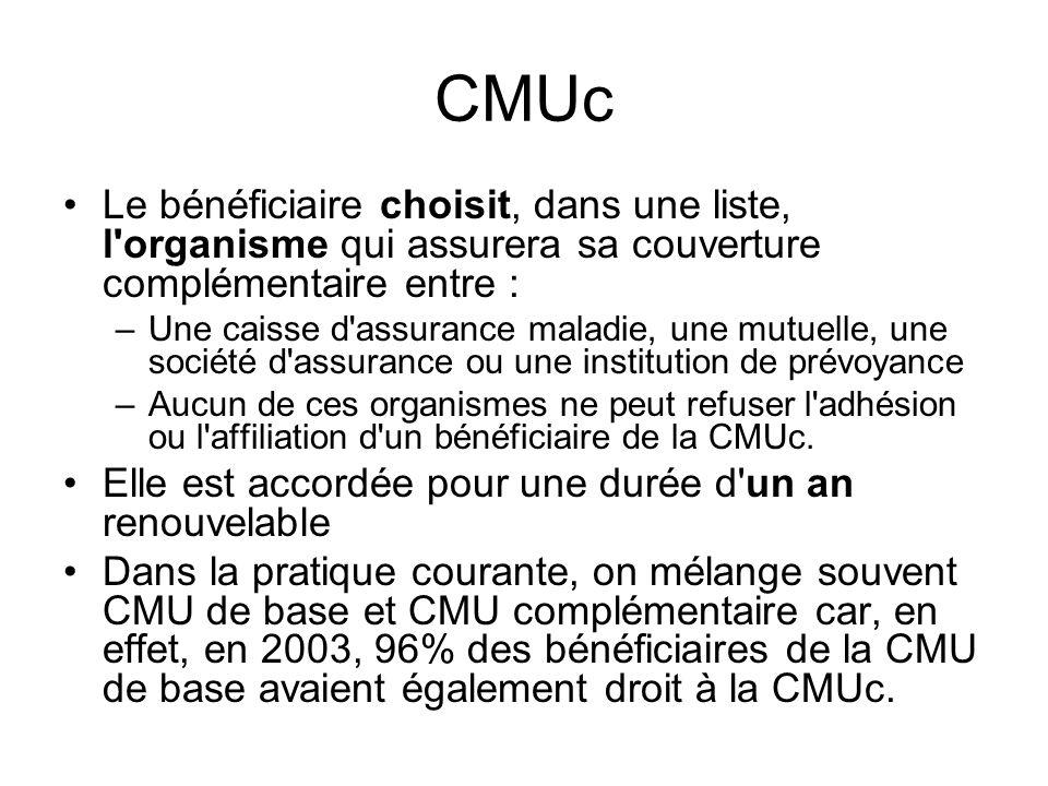 CMUc Le bénéficiaire choisit, dans une liste, l organisme qui assurera sa couverture complémentaire entre :