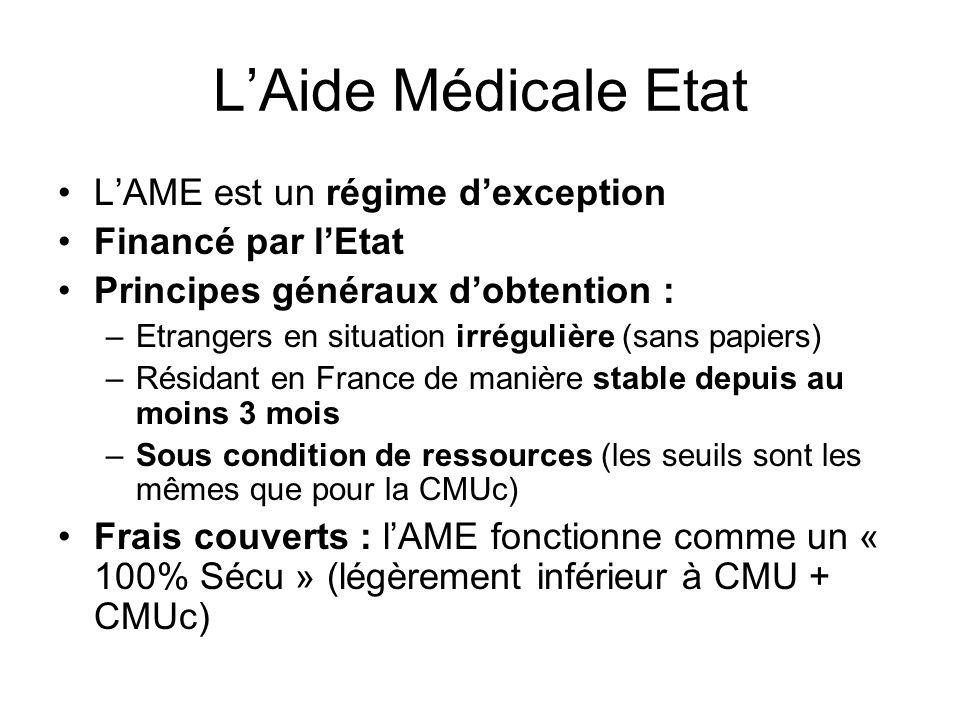 L'Aide Médicale Etat L'AME est un régime d'exception