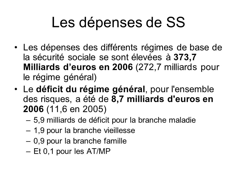 Les dépenses de SS