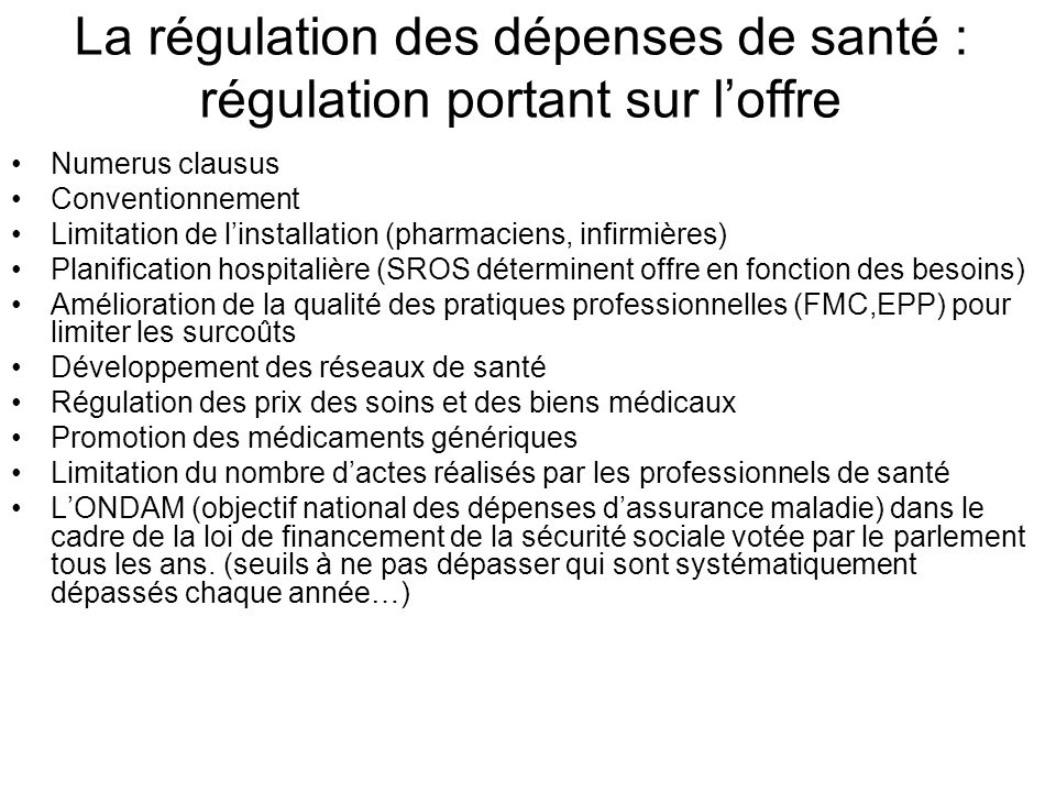 La régulation des dépenses de santé : régulation portant sur l'offre
