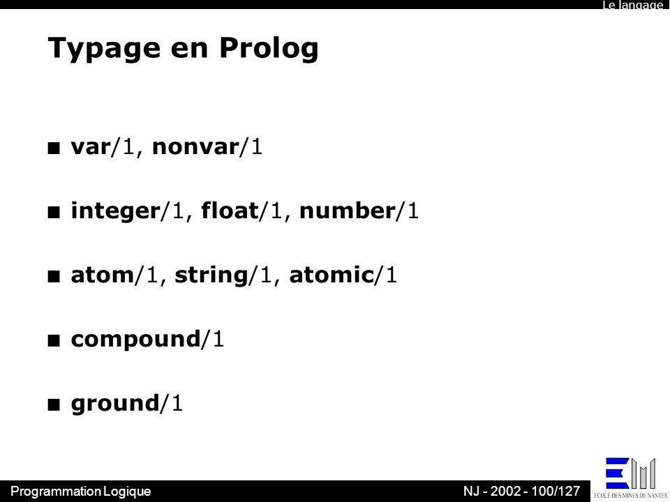 Typage en Prolog var/1, nonvar/1 integer/1, float/1, number/1