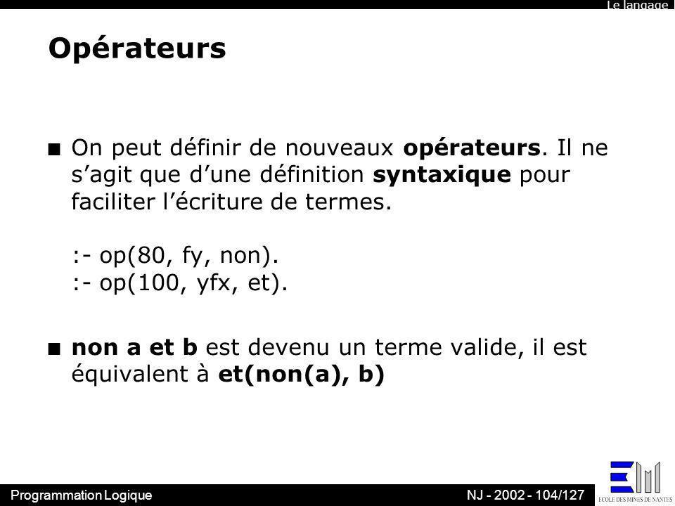 Le langageOpérateurs.