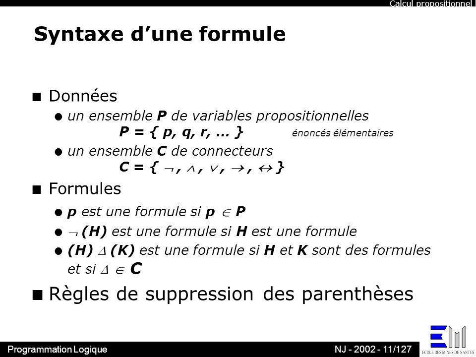 Syntaxe d'une formule Règles de suppression des parenthèses Données