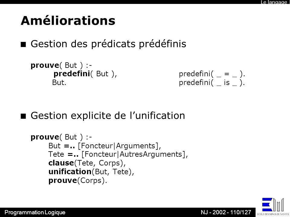 Le langageAméliorations.
