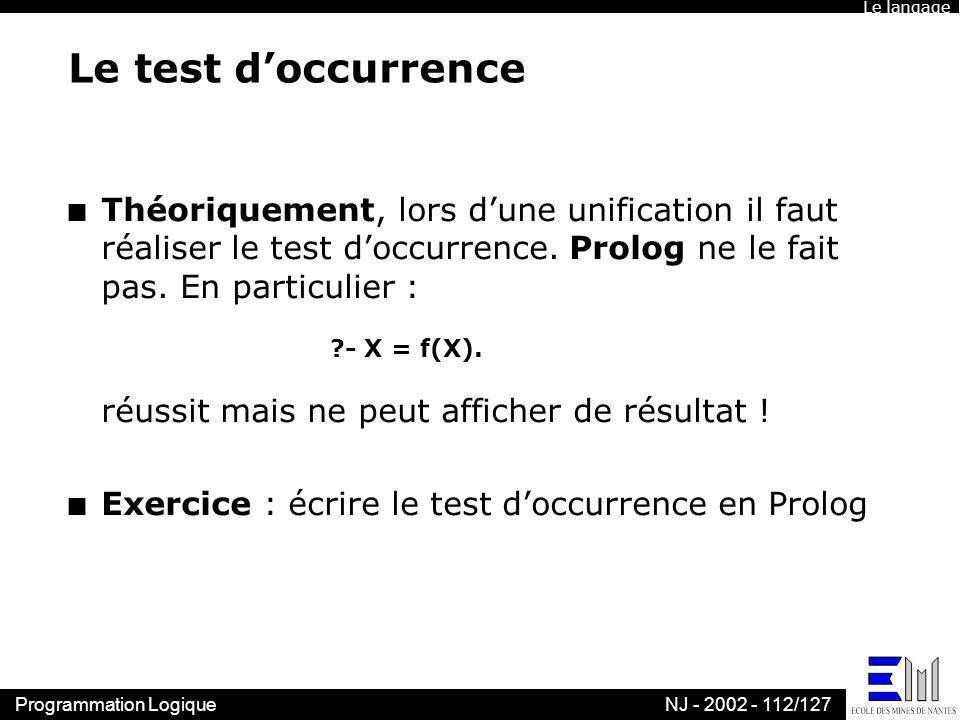 Le langageLe test d'occurrence.