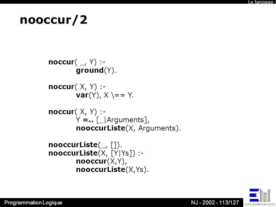 nooccur/2 noccur( _, Y) :- ground(Y). noccur( X, Y) :-