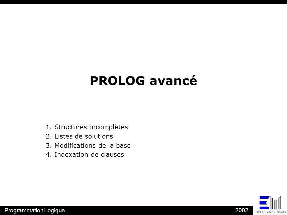 PROLOG avancé 1. Structures incomplètes 2. Listes de solutions