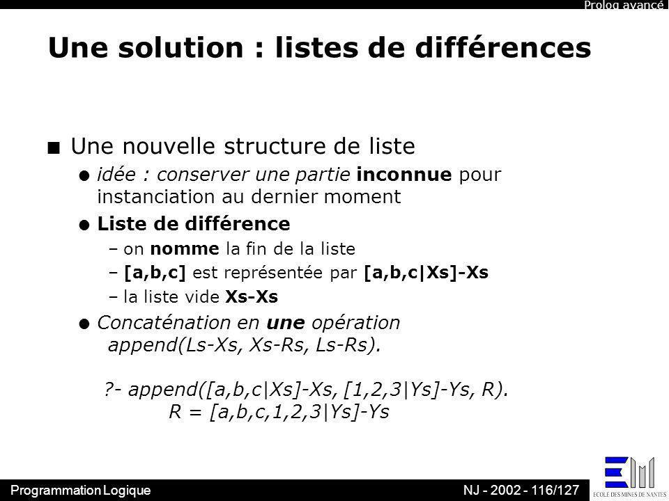 Une solution : listes de différences