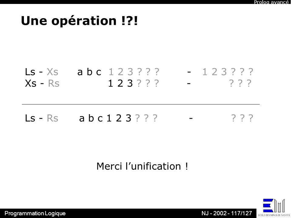 Une opération ! ! Ls - Xs a b c 1 2 3 - 1 2 3