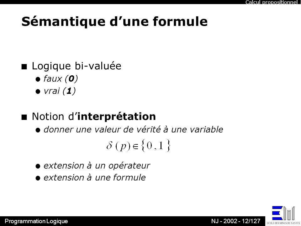 Sémantique d'une formule