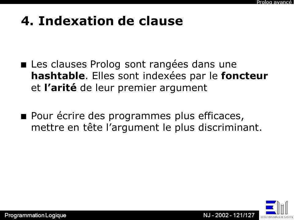 Prolog avancé 4. Indexation de clause.