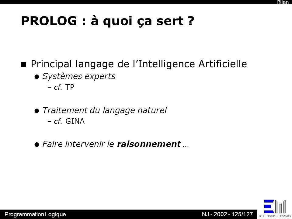 Bilan PROLOG : à quoi ça sert Principal langage de l'Intelligence Artificielle. Systèmes experts.