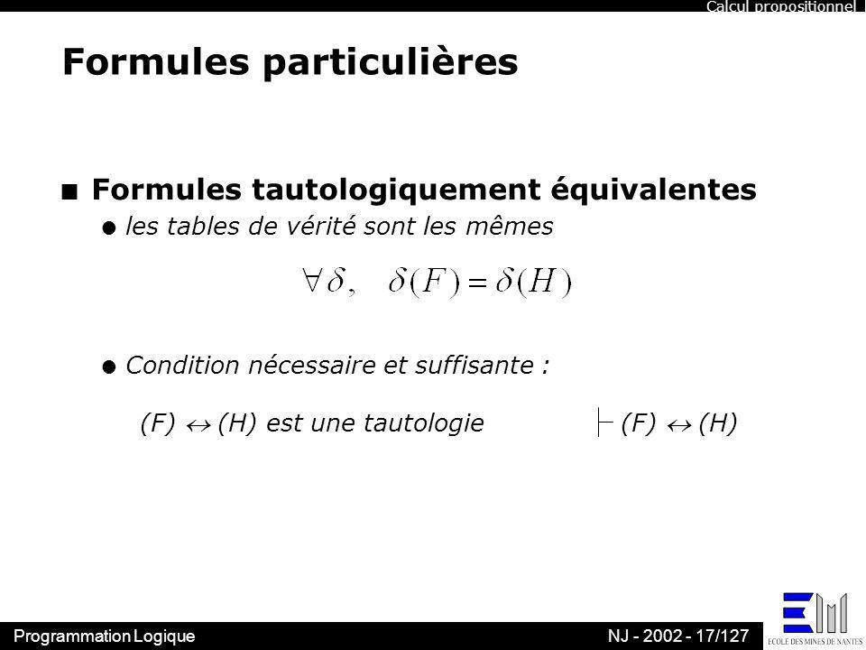 Formules particulières