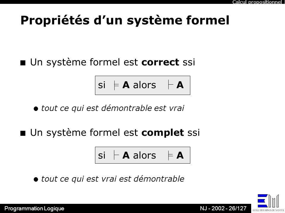 Propriétés d'un système formel