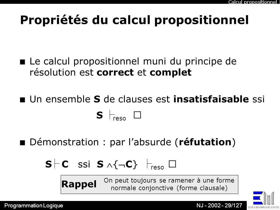 Propriétés du calcul propositionnel