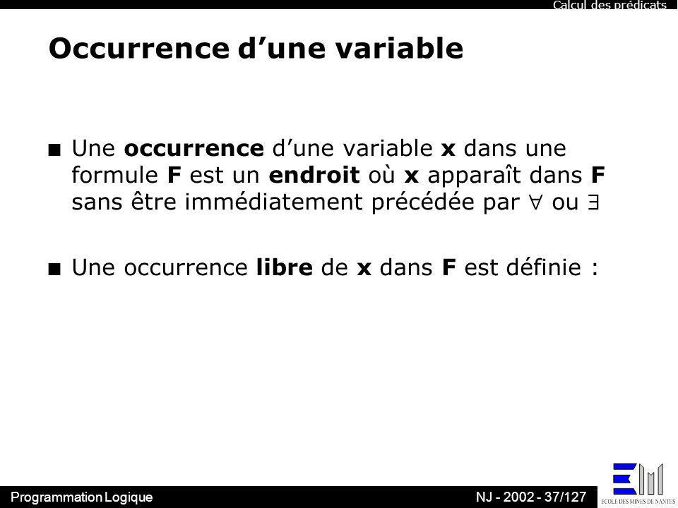 Occurrence d'une variable