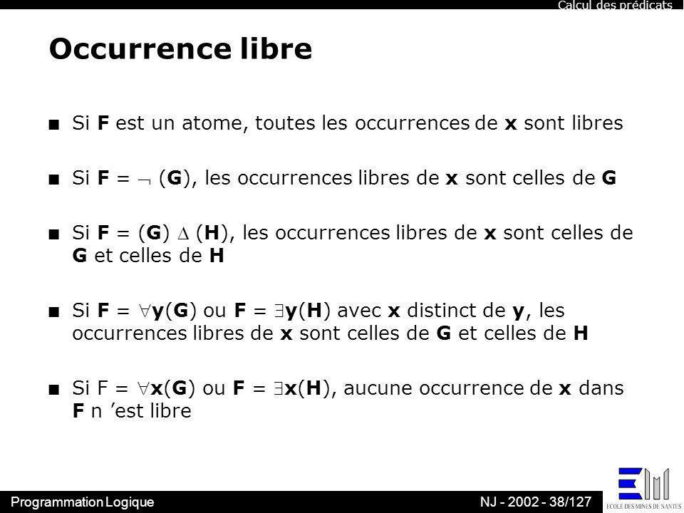 Calcul des prédicats Occurrence libre. Si F est un atome, toutes les occurrences de x sont libres.