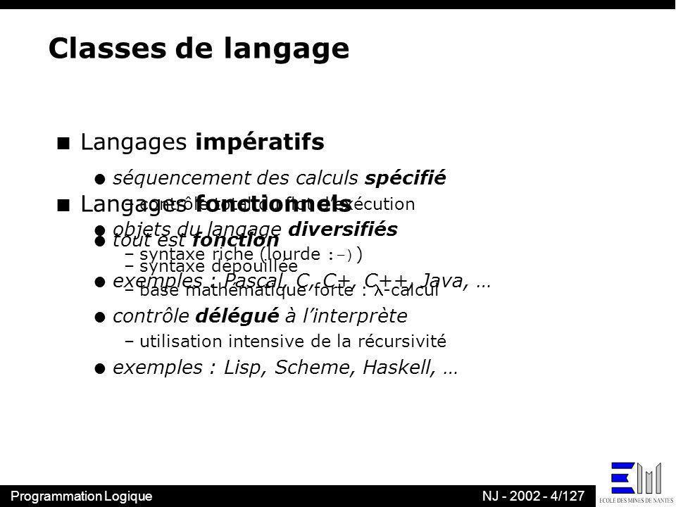Classes de langage Langages impératifs Langages fonctionnels