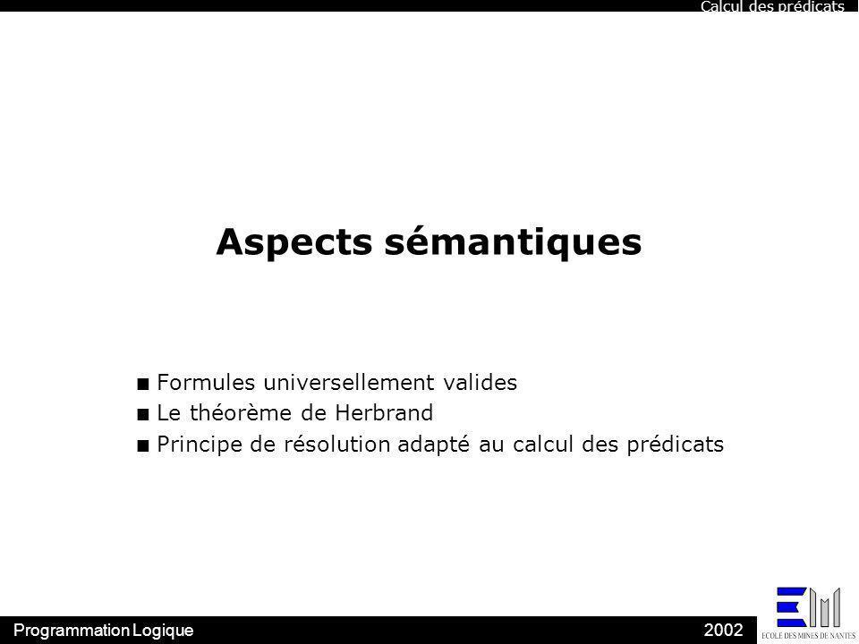 Aspects sémantiques Formules universellement valides
