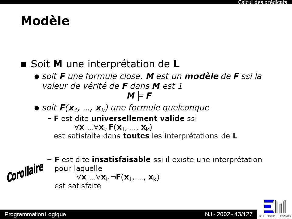 Modèle Soit M une interprétation de L