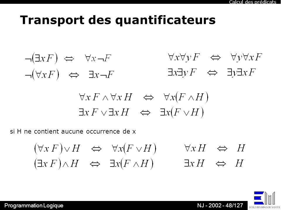 Transport des quantificateurs