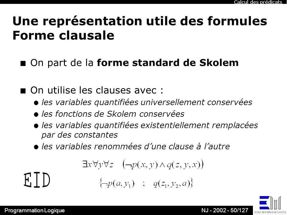 Une représentation utile des formules Forme clausale