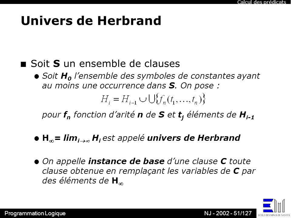 Univers de Herbrand Soit S un ensemble de clauses