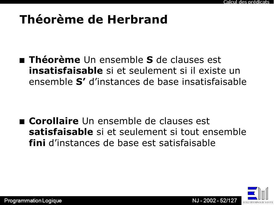 Calcul des prédicats Théorème de Herbrand.