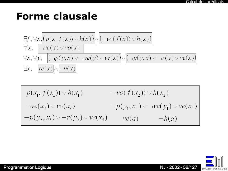 Calcul des prédicats Forme clausale