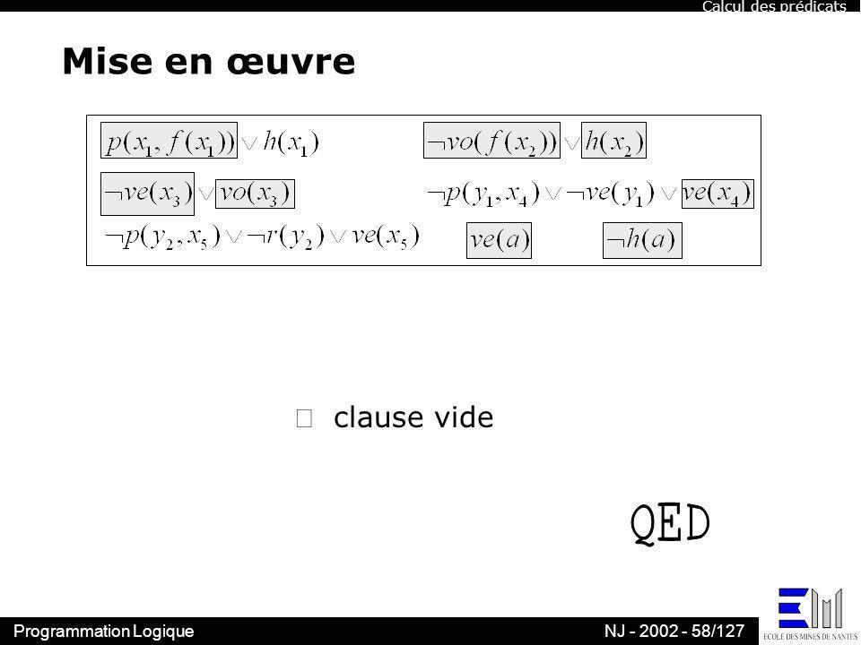 Calcul des prédicats Mise en œuvre  clause vide QED