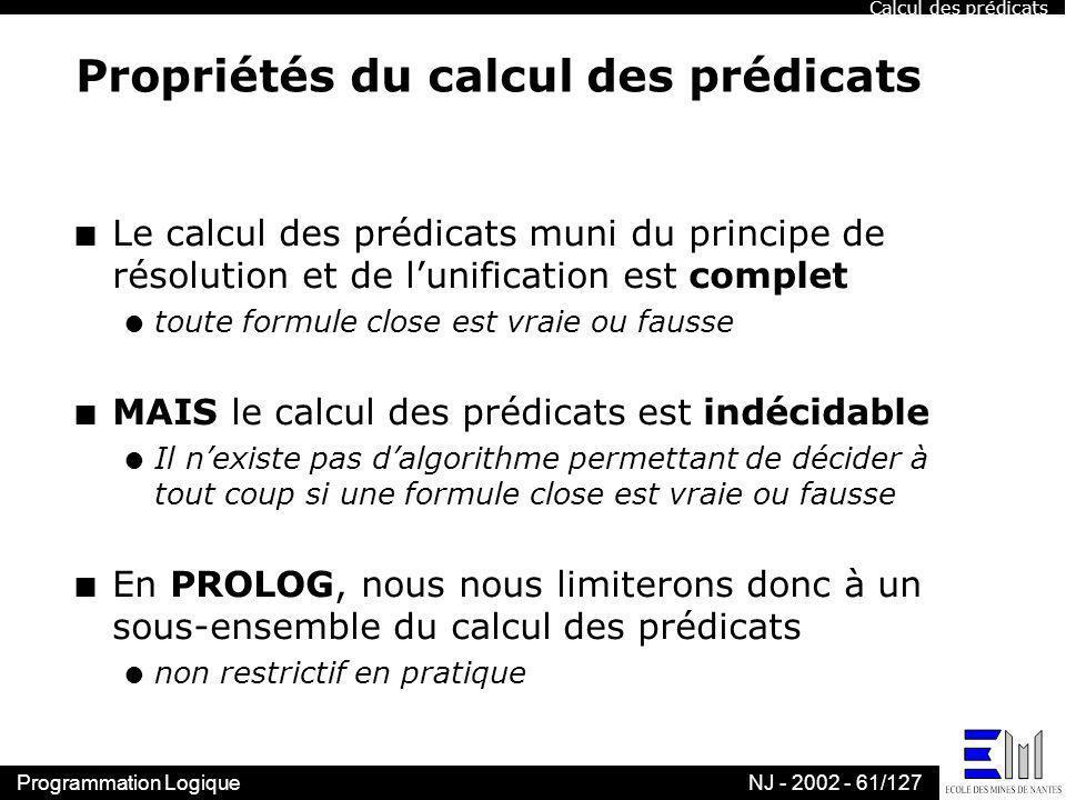 Propriétés du calcul des prédicats