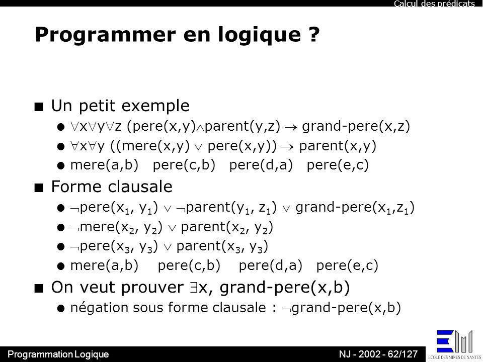 Programmer en logique Un petit exemple Forme clausale