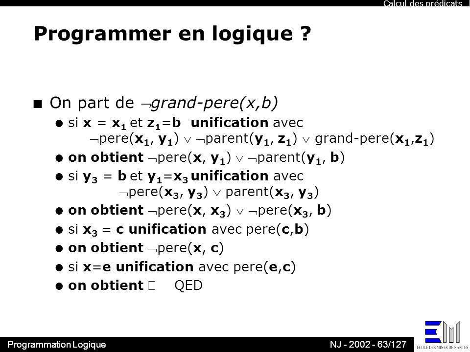 Programmer en logique On part de grand-pere(x,b)