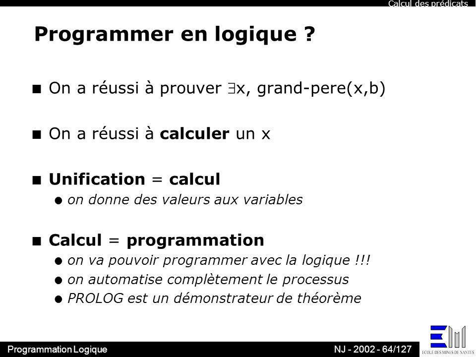 Programmer en logique On a réussi à prouver x, grand-pere(x,b)