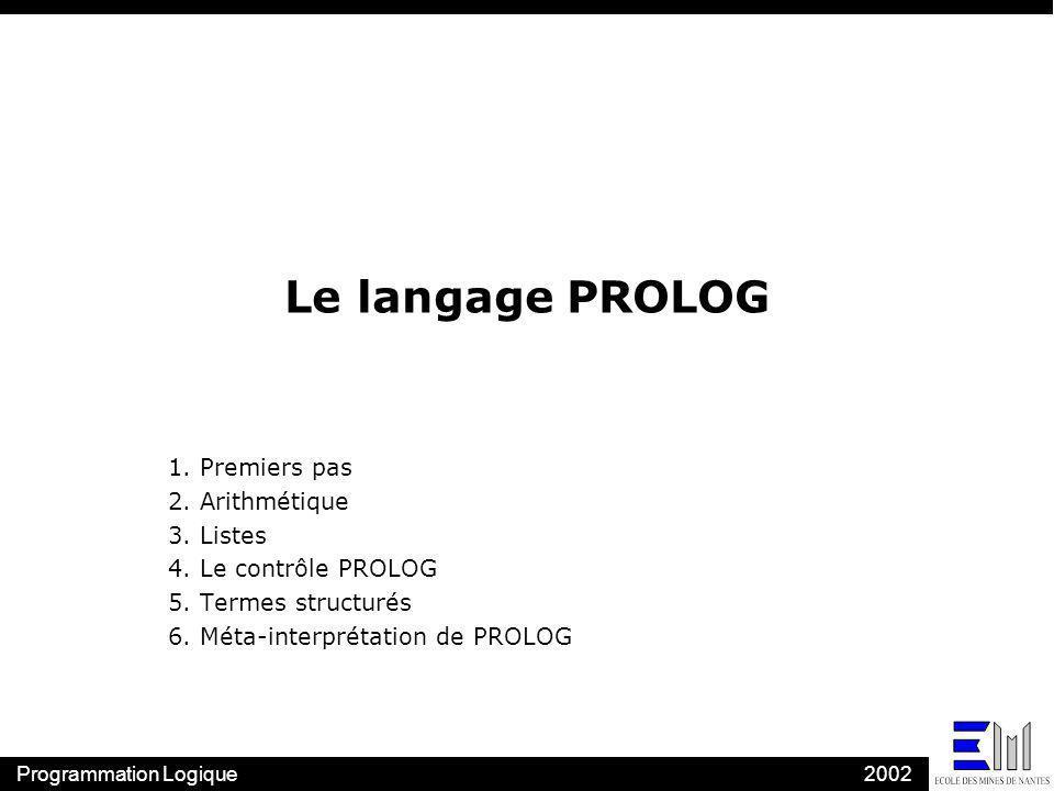 Le langage PROLOG 1. Premiers pas 2. Arithmétique 3. Listes