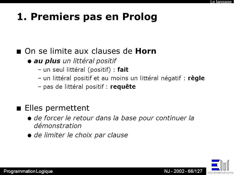 1. Premiers pas en Prolog On se limite aux clauses de Horn