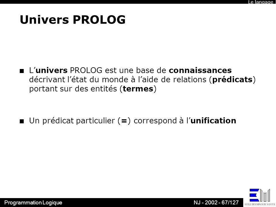 Le langage Univers PROLOG.