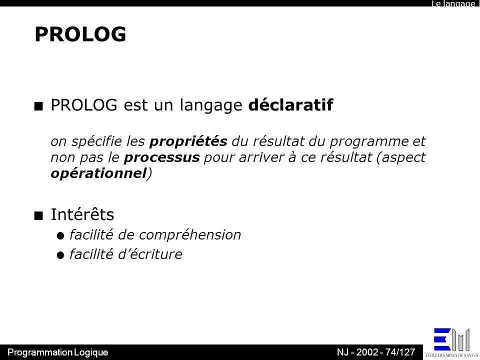 Le langagePROLOG.