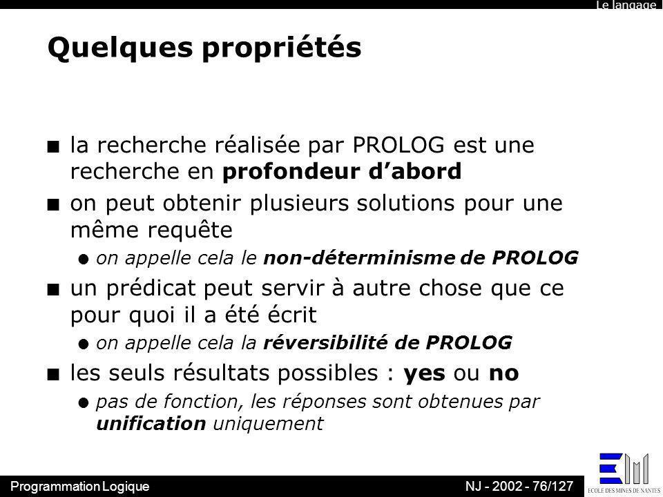 Le langage Quelques propriétés. la recherche réalisée par PROLOG est une recherche en profondeur d'abord.