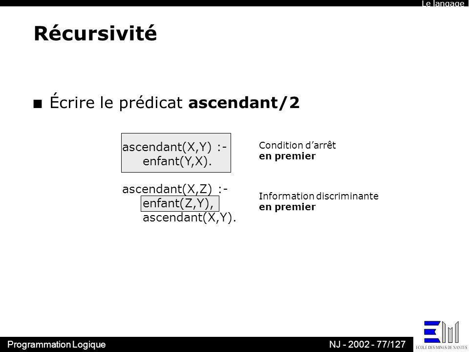 Récursivité Écrire le prédicat ascendant/2 ascendant(X,Y) :-