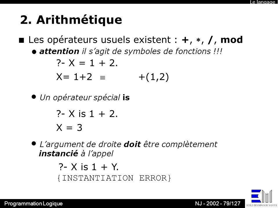 2. Arithmétique Les opérateurs usuels existent : +, , /, mod