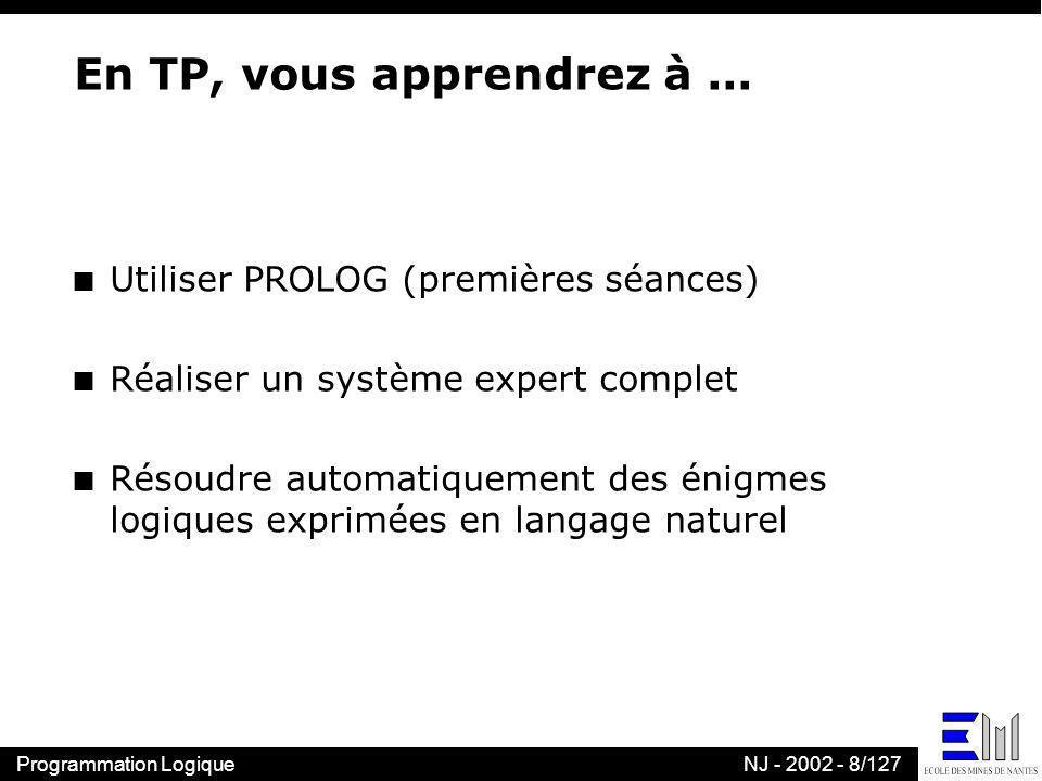 En TP, vous apprendrez à ... Utiliser PROLOG (premières séances)