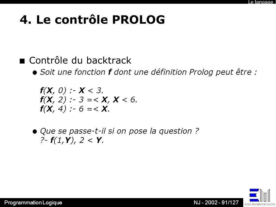 4. Le contrôle PROLOG Contrôle du backtrack