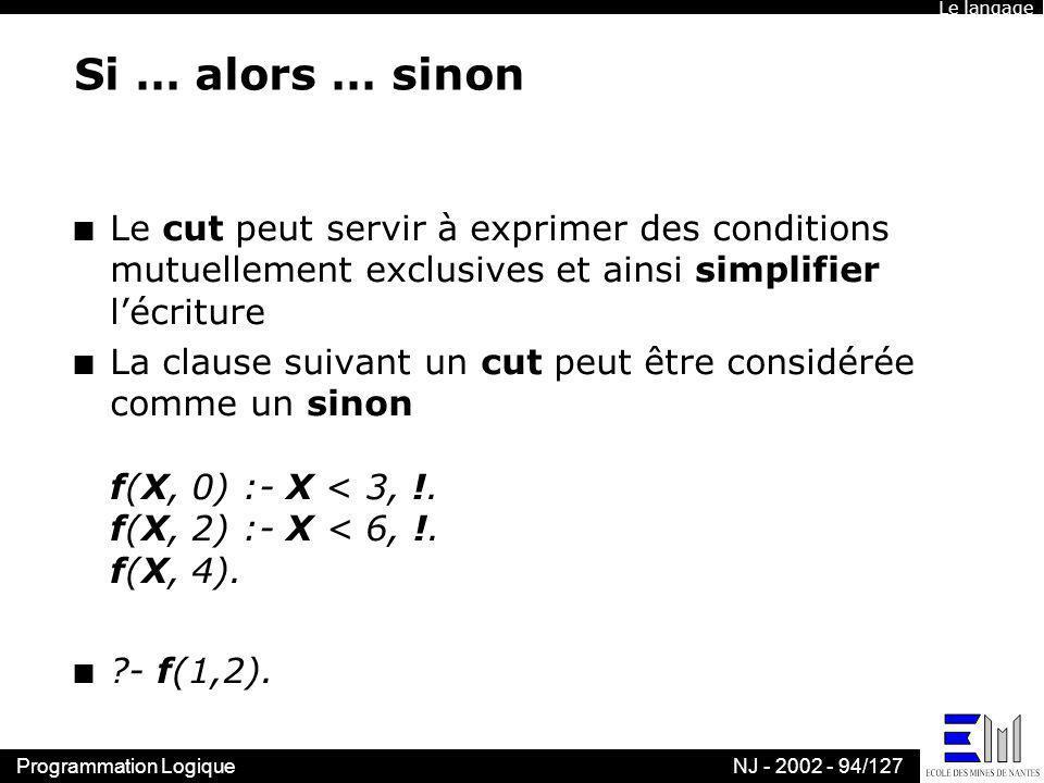 Le langage Si … alors … sinon. Le cut peut servir à exprimer des conditions mutuellement exclusives et ainsi simplifier l'écriture.